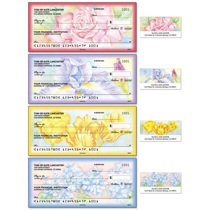 Floral Fancy Duplicate Checks with Matching Address Labels