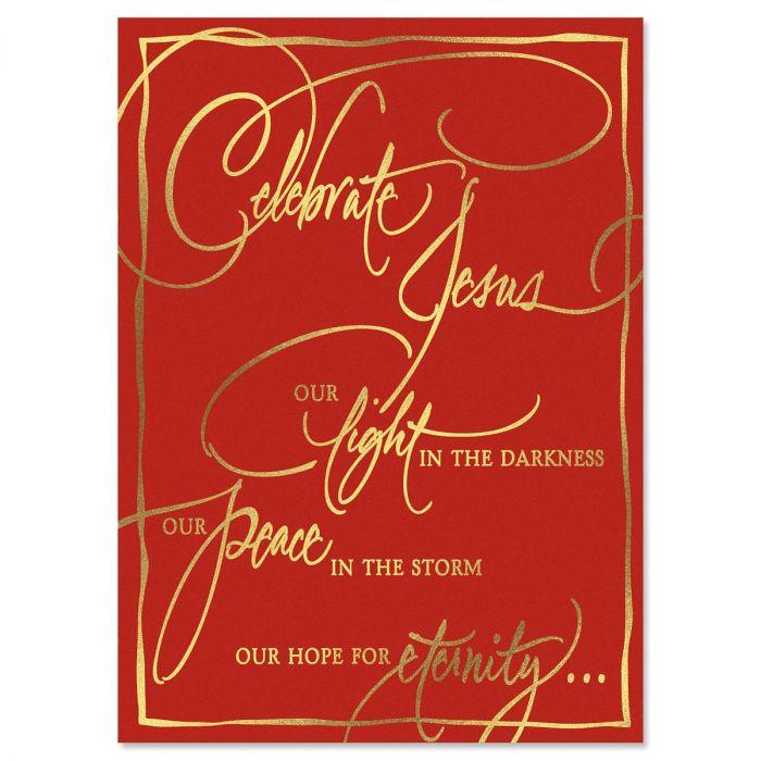 Faith Calligraphy Deluxe Foil Religious Christmas Cards