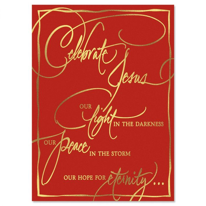 Faith Calligraphy Nonpersonalized Deluxe Christmas Cards - Set of 14