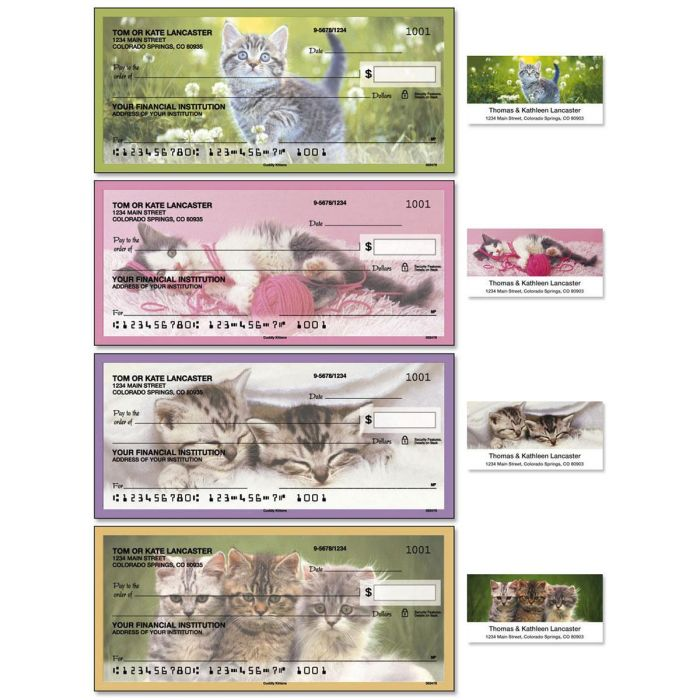 Cuddle Kittens Single Checks with Matching Address Labels