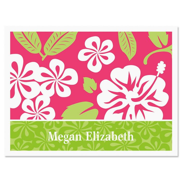 Hibiscus Personalized Note Cards