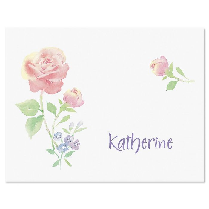 Pink Rose Personalized Note Cards