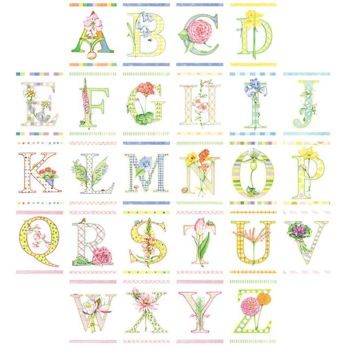 Fancy Flowers Initial Personalized Note Cards
