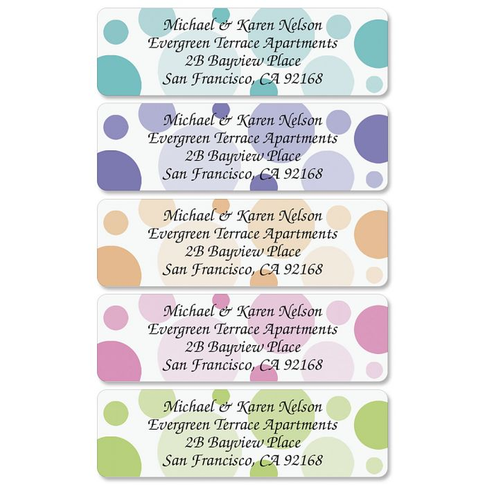 It is a picture of Dramatic Polka Dot Mailing Labels