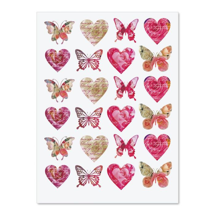 Roses, Hearts, & Butterflies Stickers