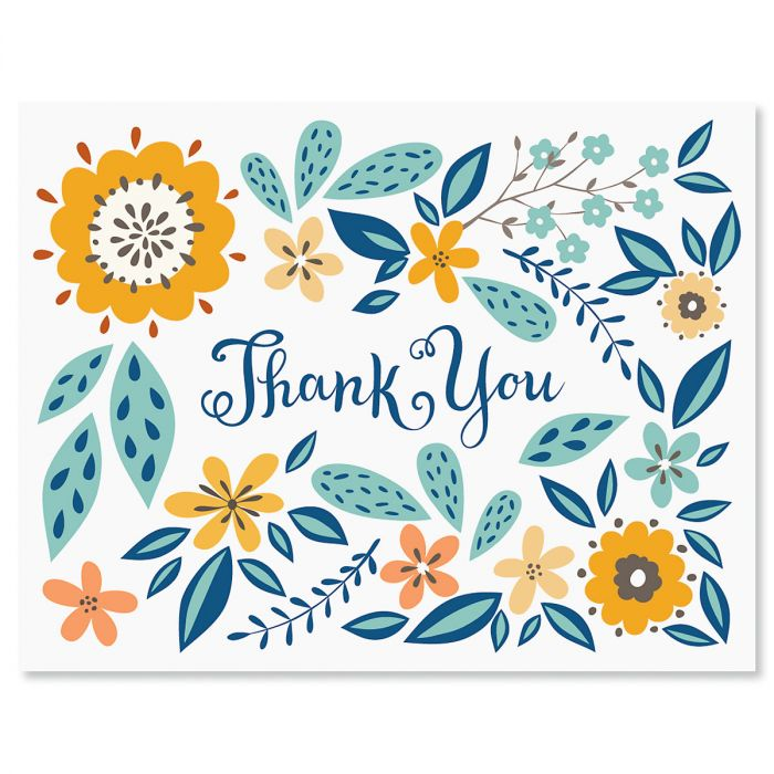 Spring Floral Thank You Note Cards