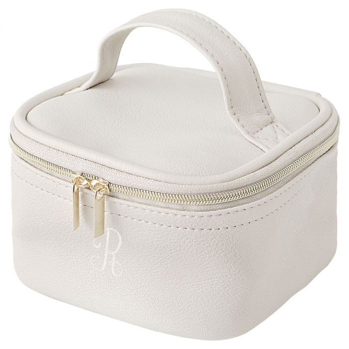 Personalized Faux Leather Jewelry Train Case, Oyster Grey