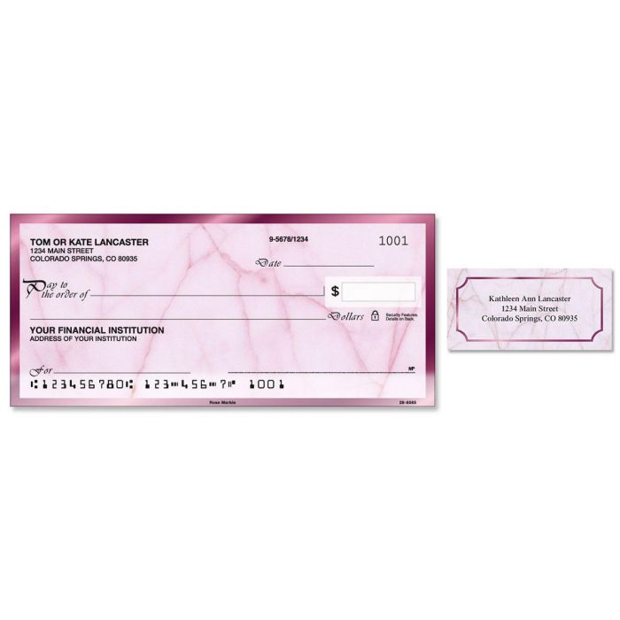 Rose Marble Single Checks With Matching Address Labels