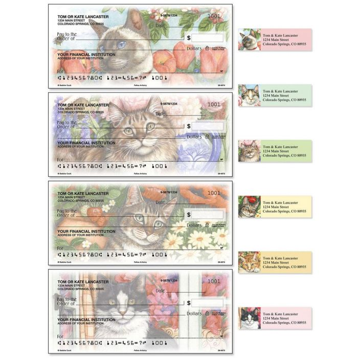 Feline Artistry Single Checks With Matching Address Labels