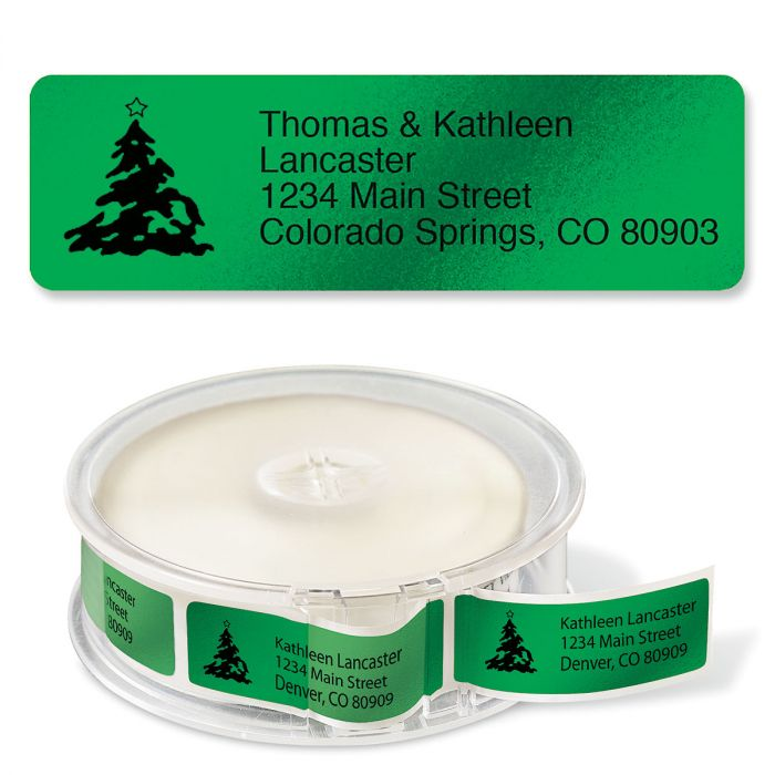 Green Foil with Symbol Standard Rolled Address Labels