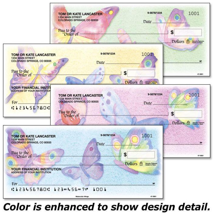 Watercolor Wings Checks