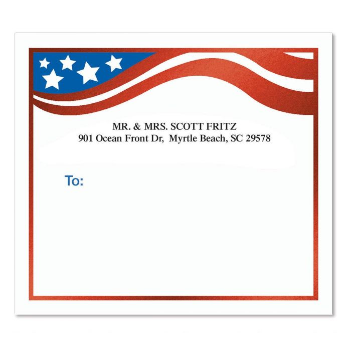Flag of Freedom Foil Mailing Package Label
