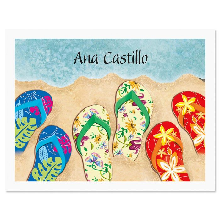 Baja Flip-Flops Personalized Note Cards