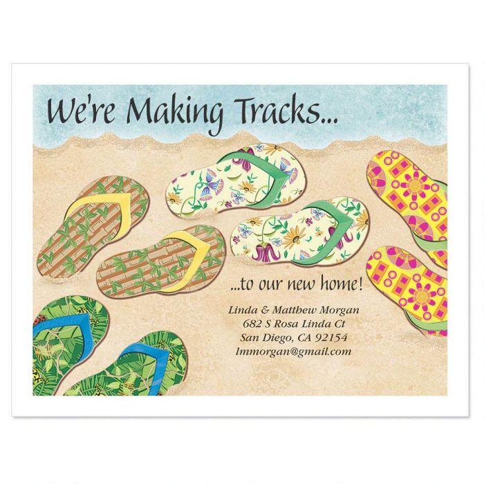 Moving Baja Flip Flop New Address Postcards