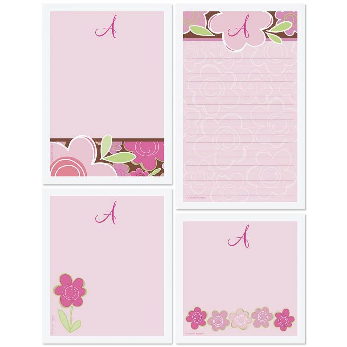 Shades of Pink Initial Personalized Notepad Set