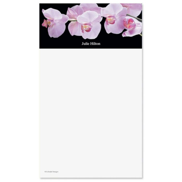 Orchids on Black Custom Memo Pads