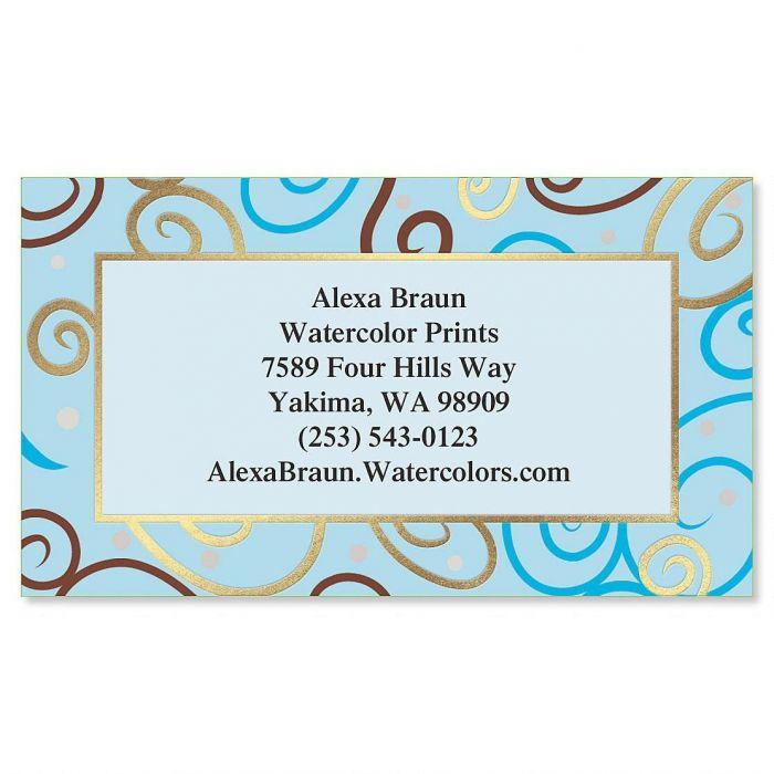 Blue Pattern Foil Calling Card