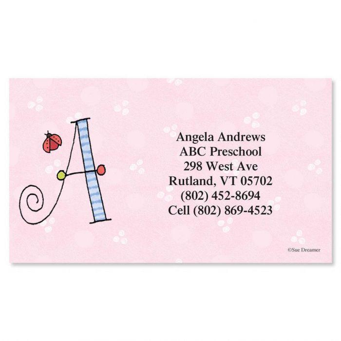 Sue Dreamer Initial Calling Cards