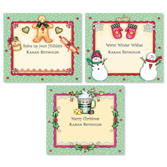 Christmas Spice Personalized Canning Jar Labels  (3 Designs)