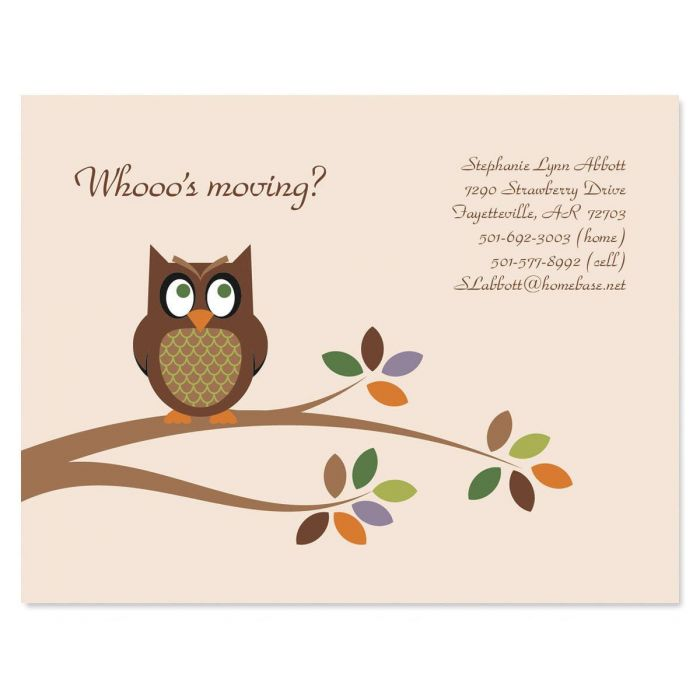 Owl We've Moved New Address Postcards