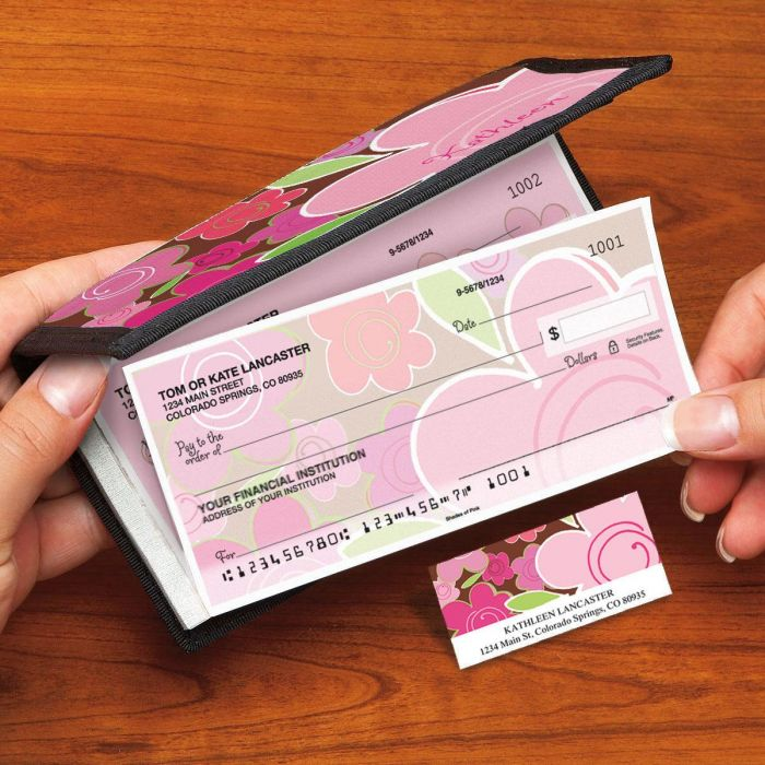 Shades of Pink Side-Tear Duplicate Checks with Matching Address Labels