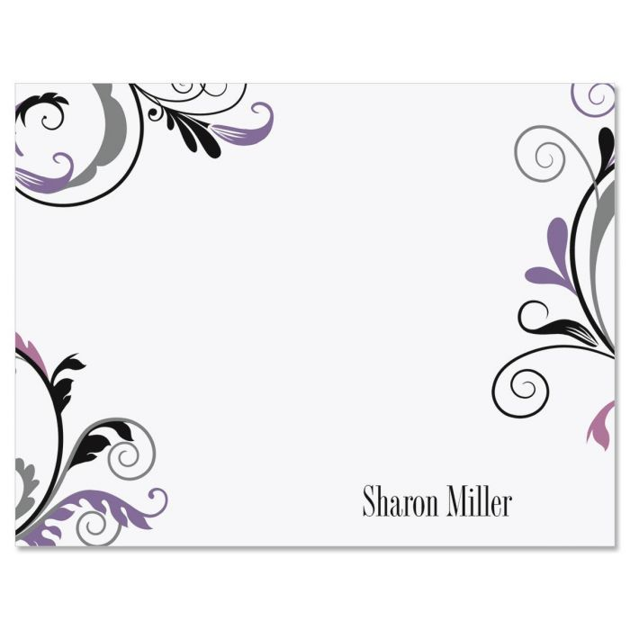 Black and Grey Fantasy Personalized Correspondence Cards