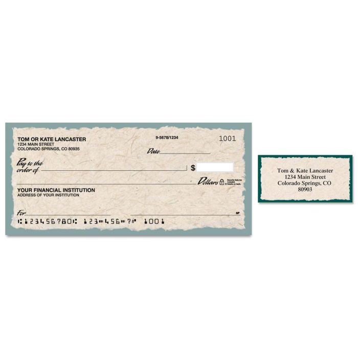 Natural Single Checks With Matching Address Labels