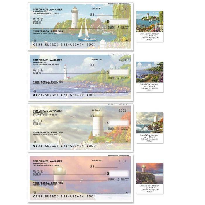 Splendid Lighthouses Single Checks With Matching Address Labels