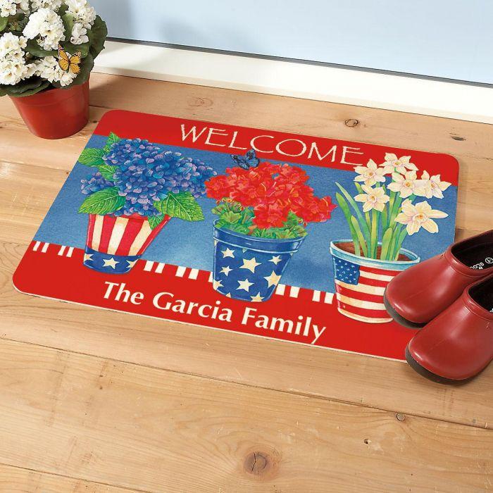 Americana Summer Personalized Welcome Doormat