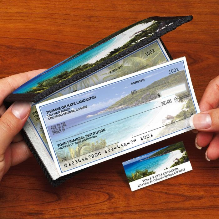 Tropical Paradise II Side-Tear Duplicate Checks with Matching Address Labels