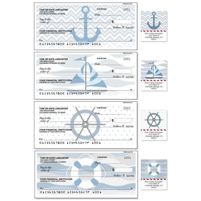 Nautical Chic Single Checks with Matching Address Labels