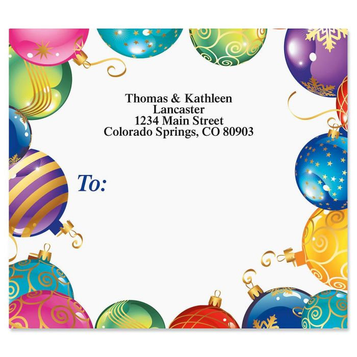 Candy Colored Ornaments Mailing Package Label