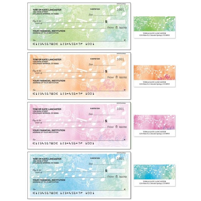 Floral Notes Single Checks With Labels