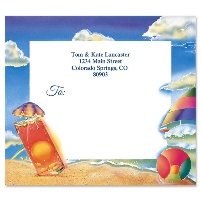 Summer Beach Mailing Package Label