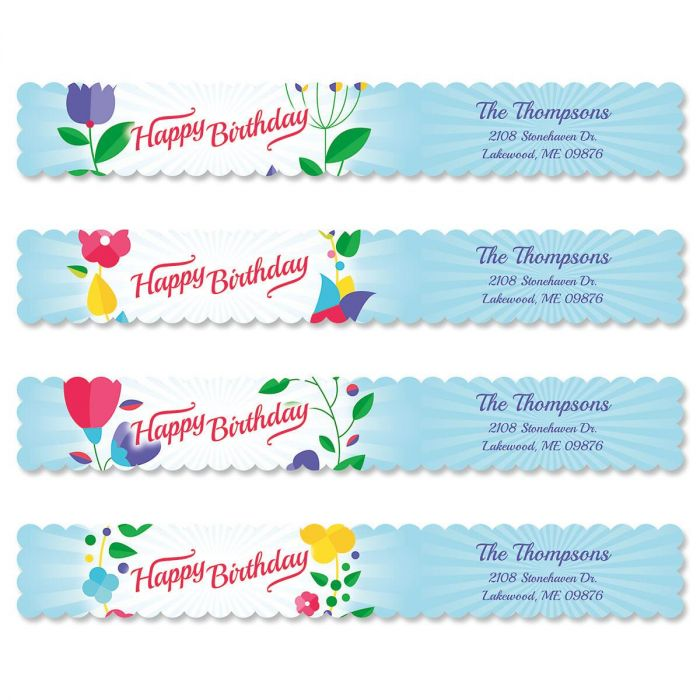 Cheerful Blooms Connect Wrap Around Diecut Address Labels  (4 Designs)