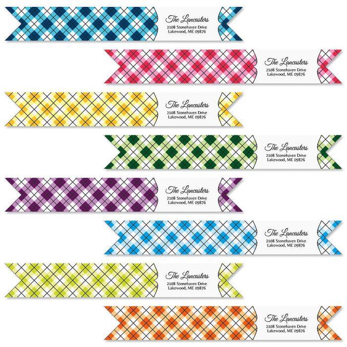 Argyle Wrap Around Address Labels  (8 Designs)