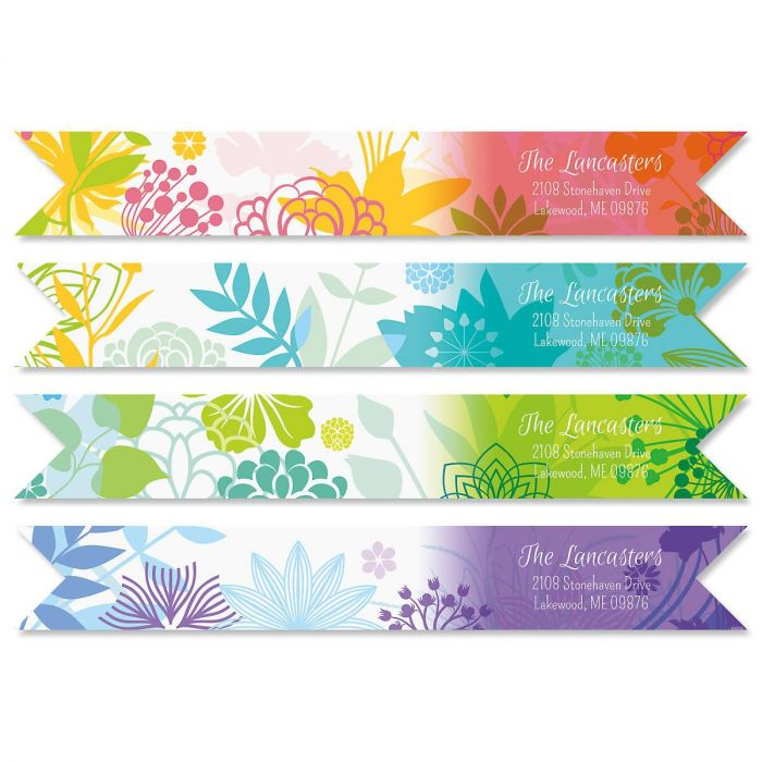 Botanical Connect Wrap Around Diecut Address Labels  (4 Designs)