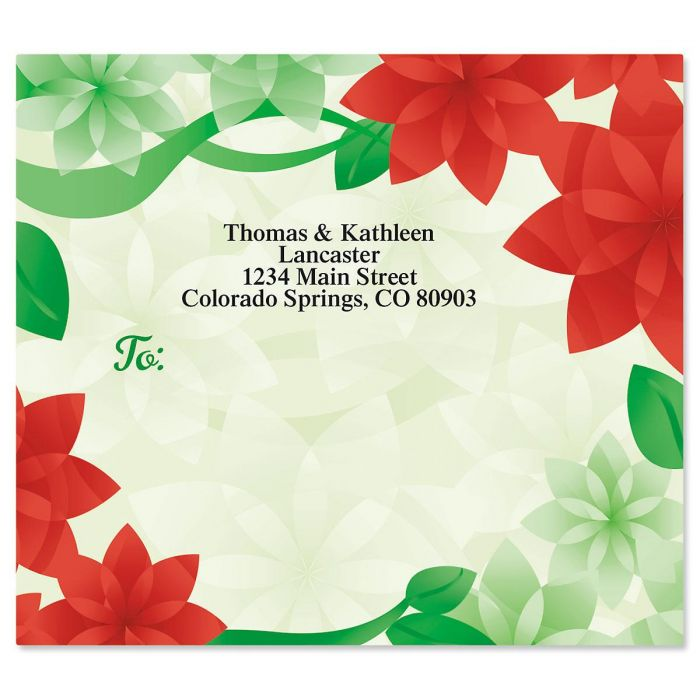 Poinsettia Petals Mailing Package Label