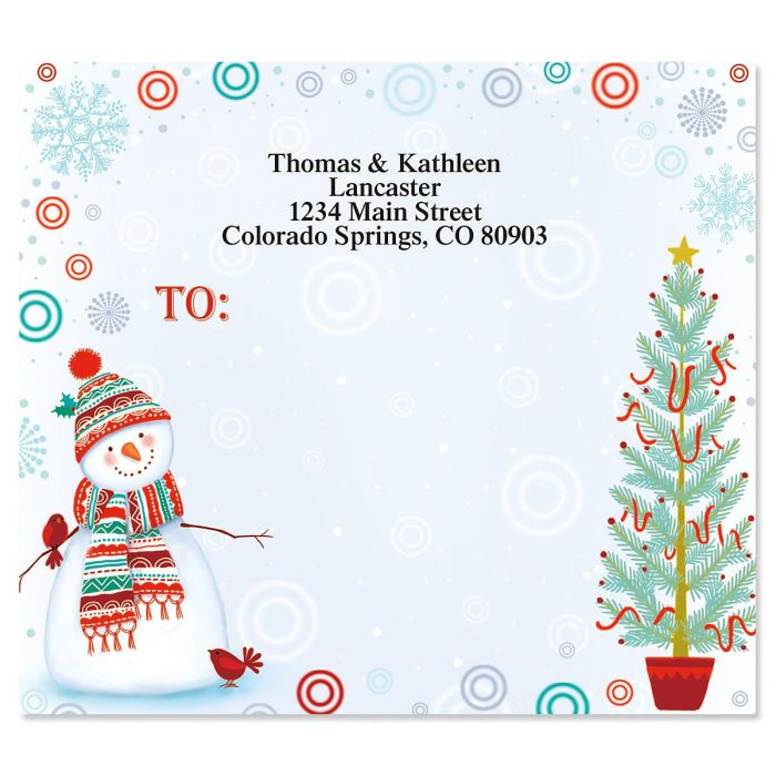 Snowman Delight Mailing Package Label