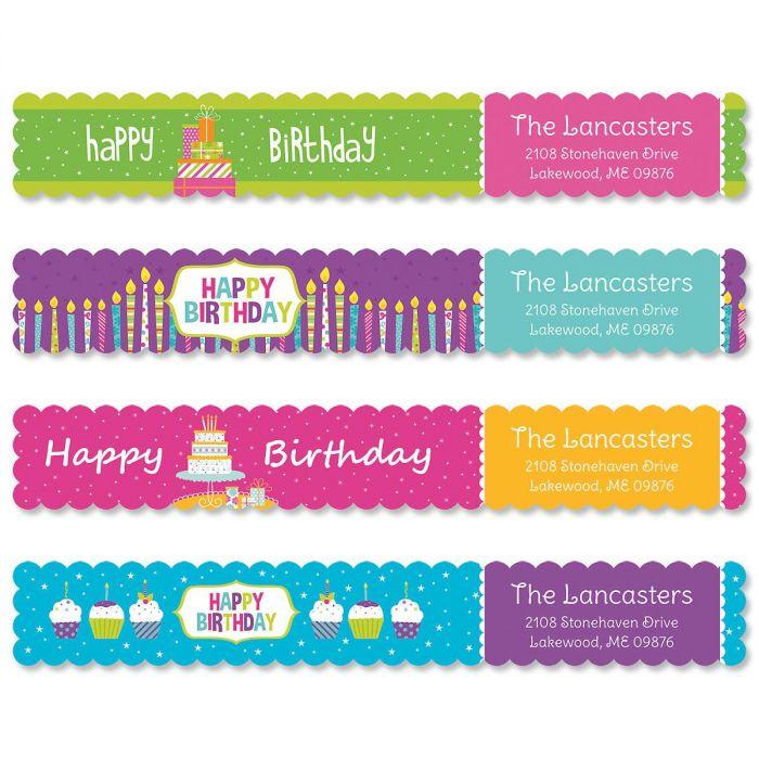 Happy Day Connect Wrap Around Diecut Address labels  (4 Designs)