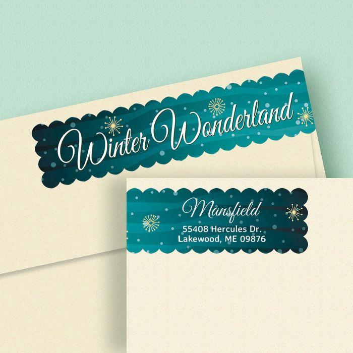 Winter Wonderland Connect Wrap Around Diecut Address Labels