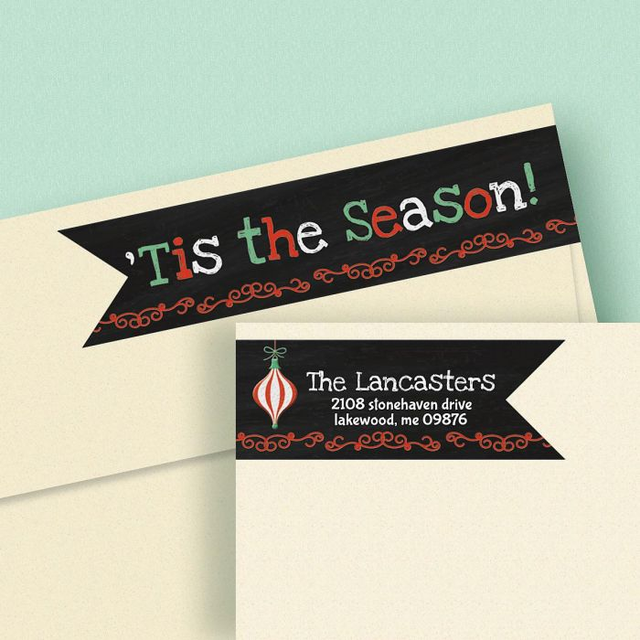 Christmas Connect.Chalkboard Christmas Connect Wrap Around Diecut Address Labels