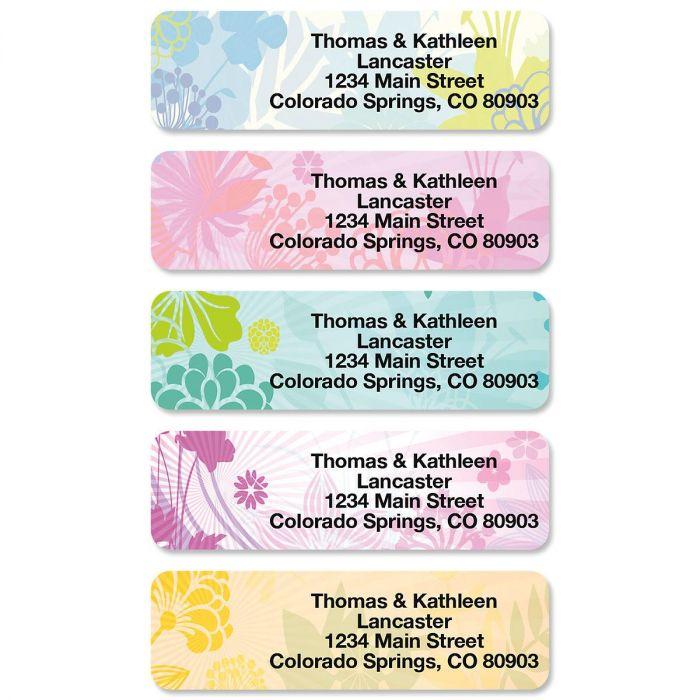 Floret Rolled Address Labels  (5 Designs)