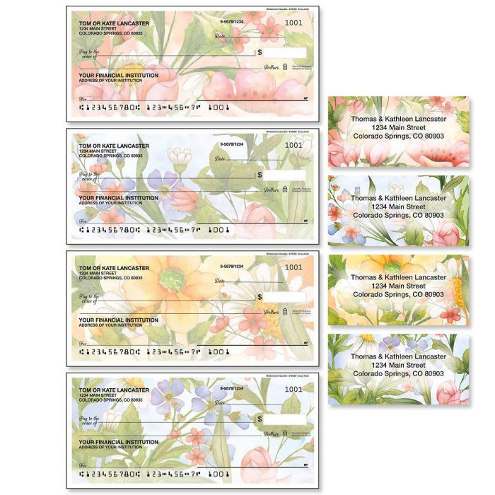 Watercolor Garden Duplicate Checks with Matching Address Labels