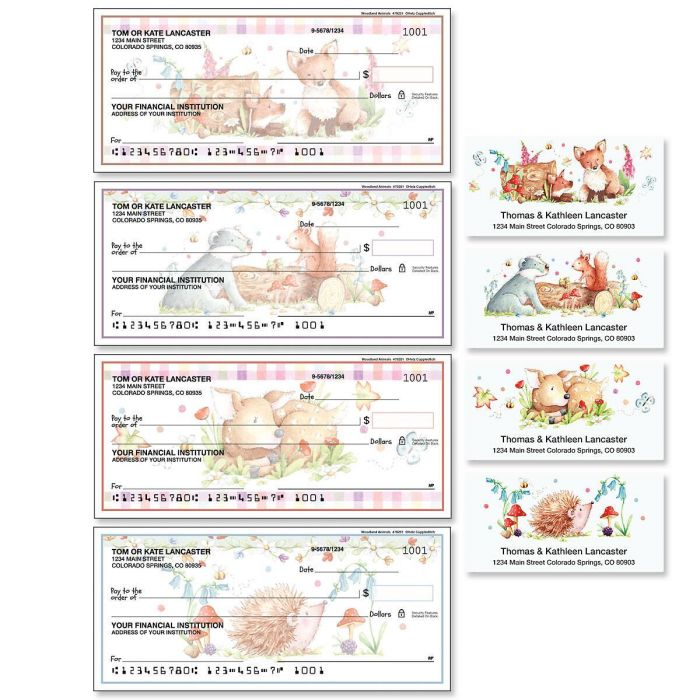 Woodland Animals Duplicate Checks with Matching Labels