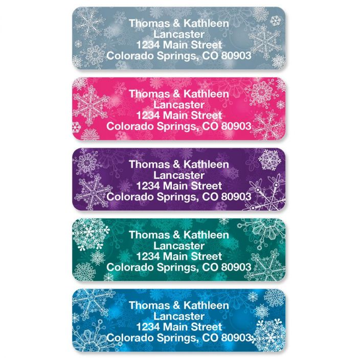 Snowflakes Rolled Address Labels  (5 Designs)