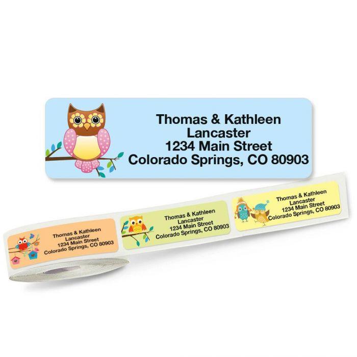 Owls Rolled Address Labels  (5 Designs)