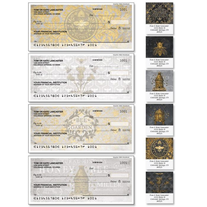 Honey Bee Single Checks with Matching Labels
