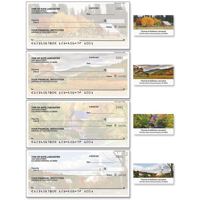Rustic America Single Checks with Matching Address Labels