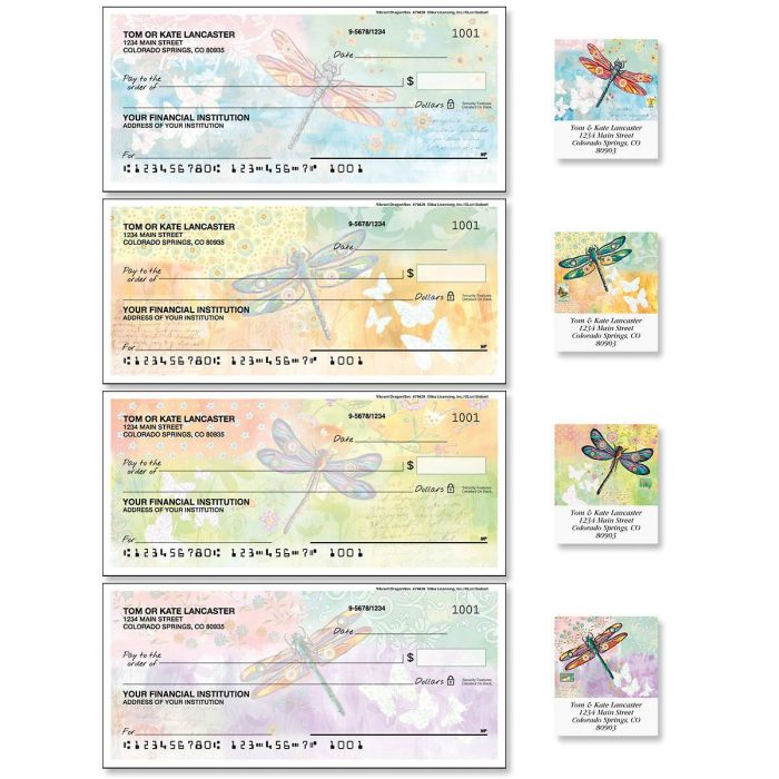 Vibrant Dragonflies Single Checks with Matching Address Labels